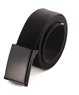 """Cut To Fit Canvas Web Belt Size Up to 52"""" with Flip-Top Solid Black Military Buckle (Black)"""