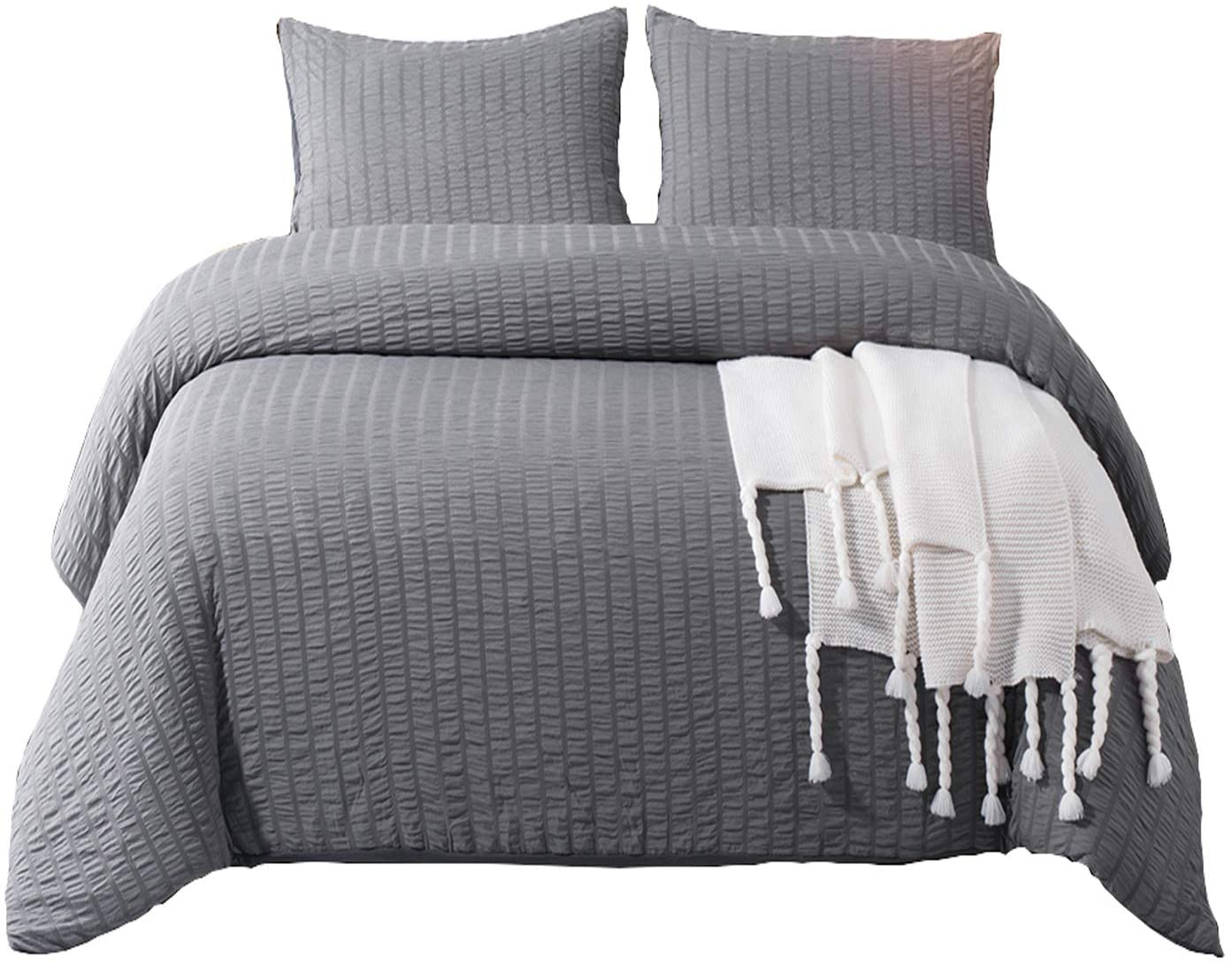 DuShow Gray Ruffled Duvet Cover Kids Twin Duvet Cover Set,Soft Microfiber Solid Comforter Cover Set with Zipper Closure Twin,Gray