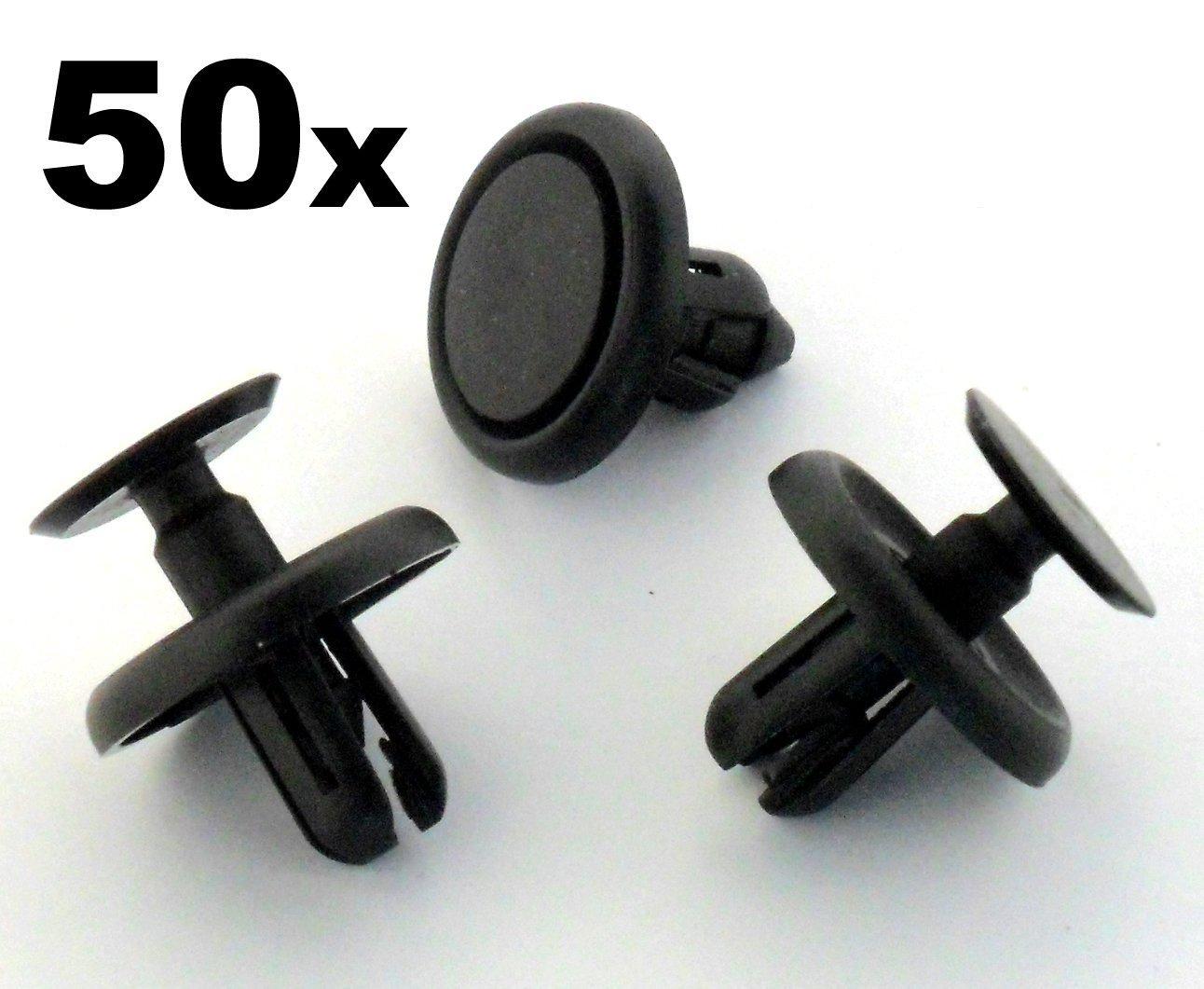 50 x Remaches Plá sticos - Clavija Ajuste Plá stico para Revestimiento Interior Rueda y Bandeja Motor Auto Trim Clips 9046707201