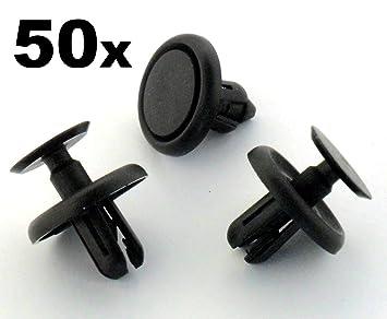 50 x Remaches Plásticos - Clavija Ajuste Plástico para Revestimiento Interior Rueda y Bandeja Motor: Amazon.es: Coche y moto