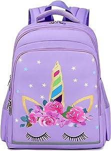 Girls Backpack for School Kids Backpack Preschool Kindergarten Elementary Bookbag (Y0058 Unicorn Purple)