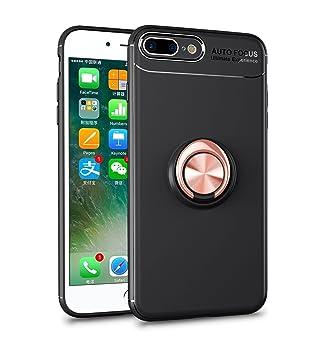 Funda para iPhone 7 PLUS / 8 PLUS Movil Coche Magnético Cubierta, Mosoris Multi-Funcional Silicona TPU Capa Protectora Bumper Caso Anillo Giratorio ...