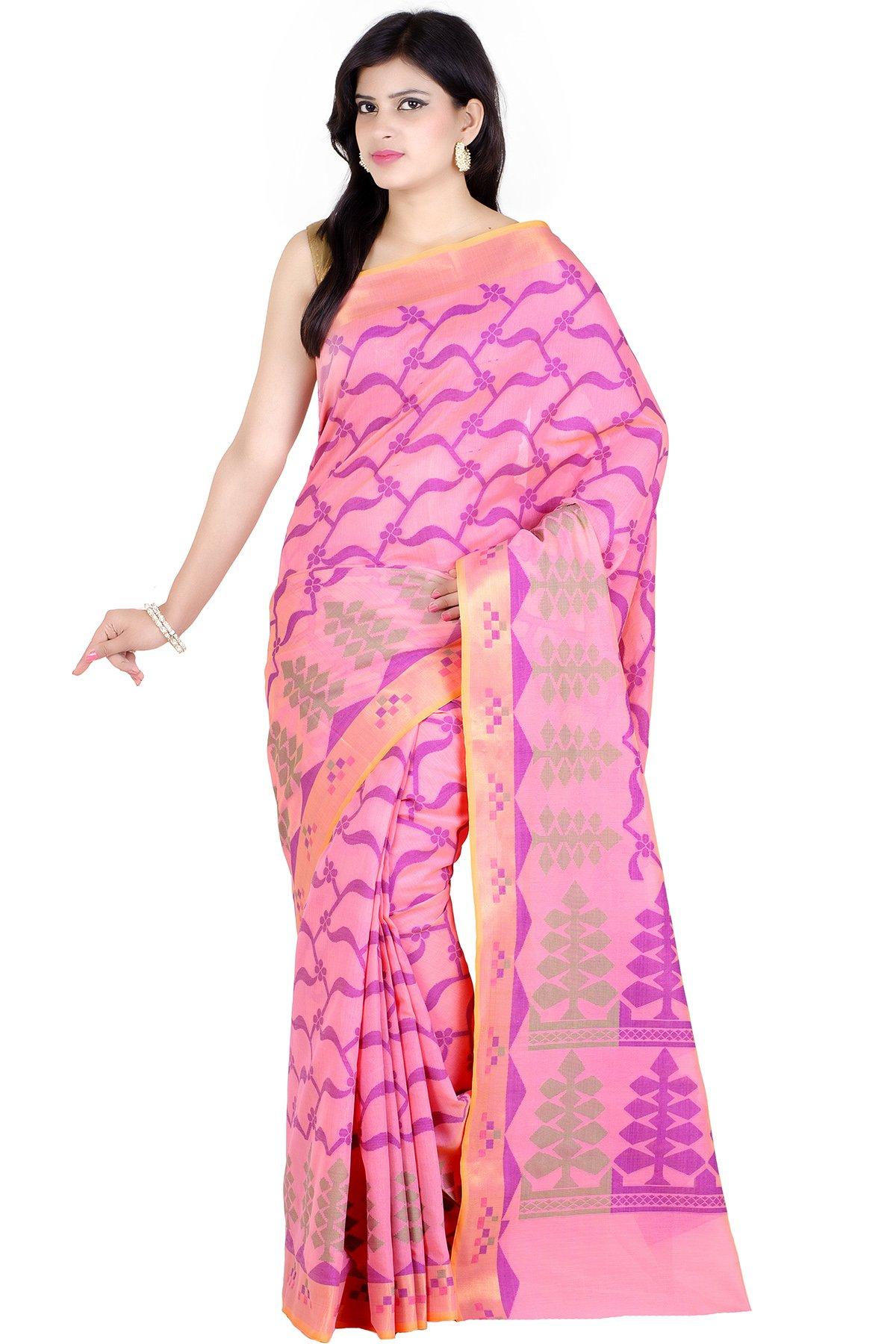 Chandrakala Women's Traditional Pink Cotton,Banarasi Style Saree