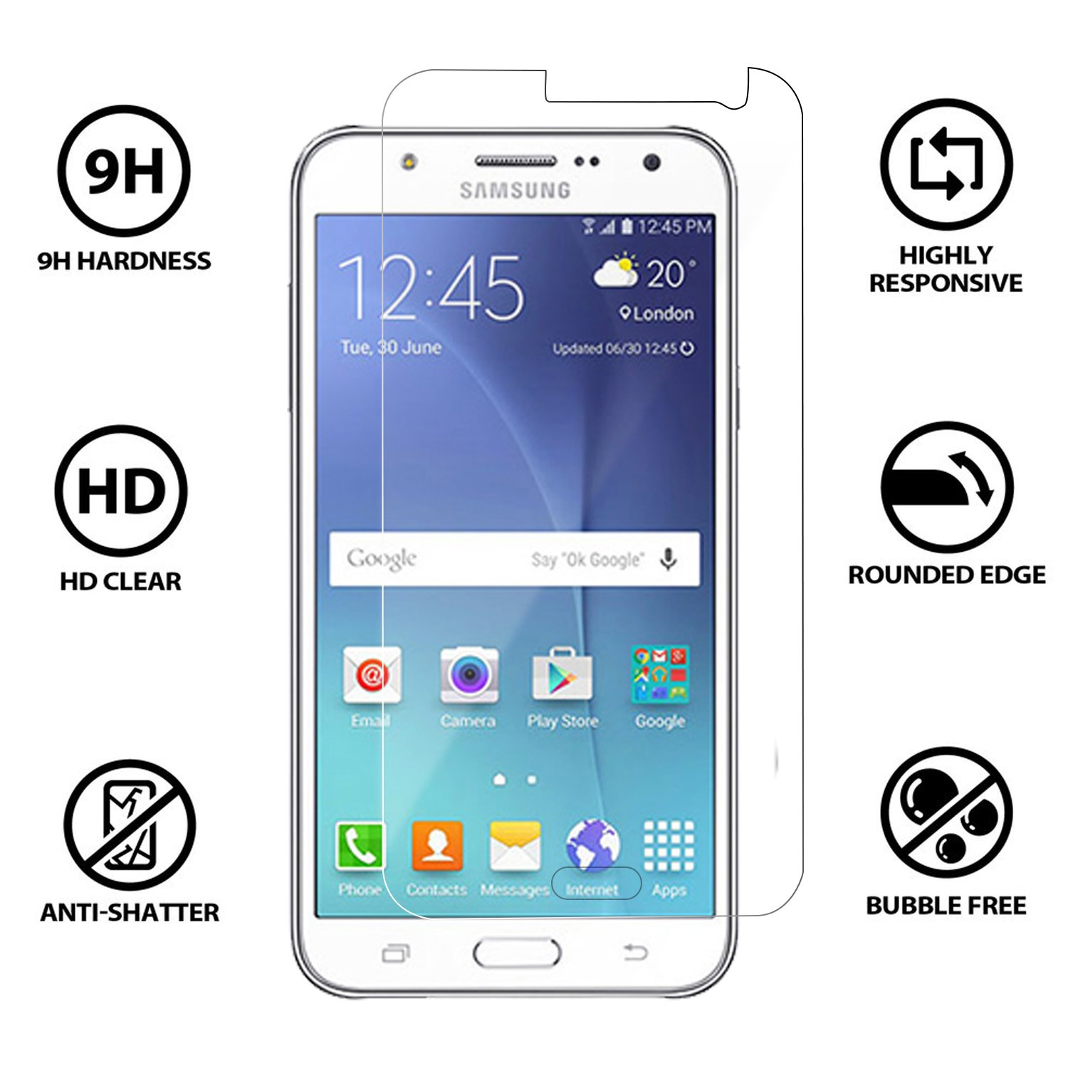 Tempered Glass for Samsung Galaxy J7 plus Mobilia USB Data Cable & OTG Cable