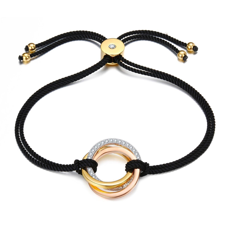 EGOO YAMEE Black Rope String Bracelet Tri Color Interlocked Rolling: Unisex Handmade Multistrand Pull Cord Adjustable Beach Bracelet Couple