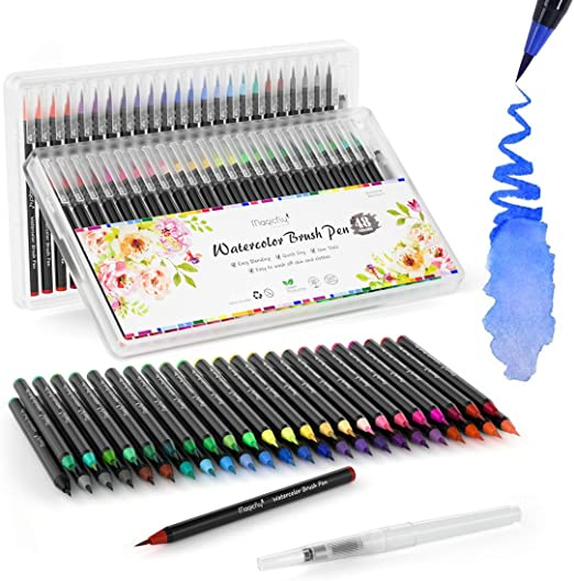Pinselstifte Set 20+1 Aquarell Farben Kalligraphie Hand-Lettering Wassertank DIY