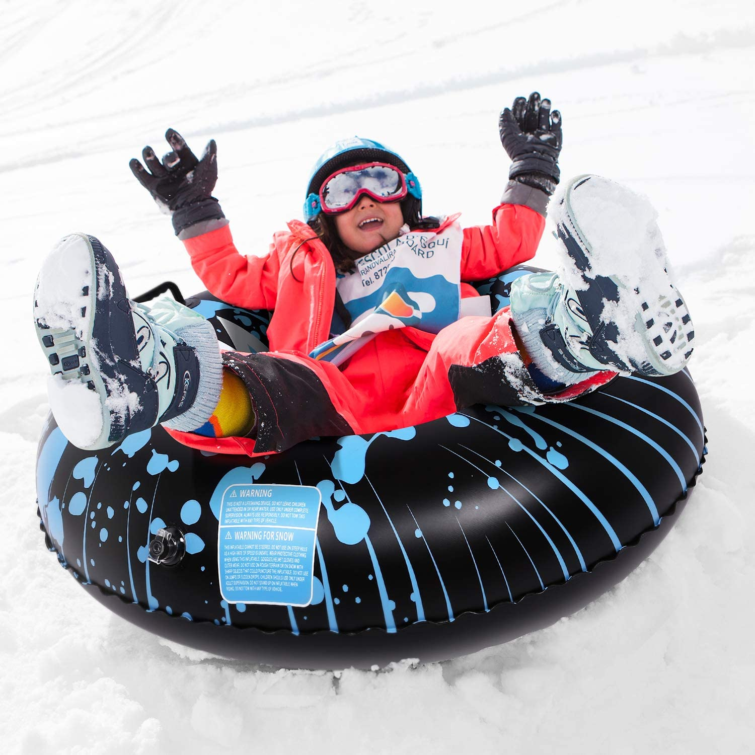 Heavy Duty Snow Tube for Adults 47 Inch Inflatable Snow Sled and Snow Toys for Kids Brace Master Snow Tube 0.6mm Thickness Material Snow Sledding