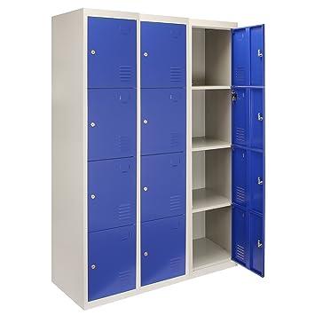 MonsterShop - 3 Taquillas con 4 Puertas Azules de Acero 45cm x 114cm x 180cm para Escuelas, Gimnasios y Vestuarios: Amazon.es: Oficina y papelería