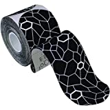 """TheraBand Kinesiology Tape, Waterproof Physio Tape for Pain Relief, Muscle Support, & Recovery, Standard Roll with XactStretch Application Indicators, 2"""" X 10"""" Strips, 20 Pack Precut Black/White"""