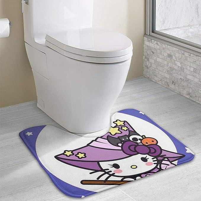 Amazon.com: Toilet Carpet- Witch Hello Kitty U-Shaped Absorbs Moisture Non Slip Bathroom Rugs Toilet Floor Mat: Home & Kitchen