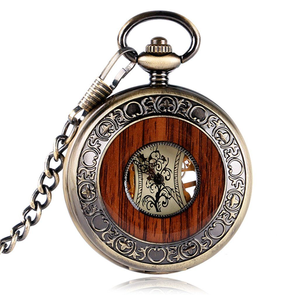 Retro Luxury Wood Circle Skeleton Pocket Watch Men Women Unisex Mechanical