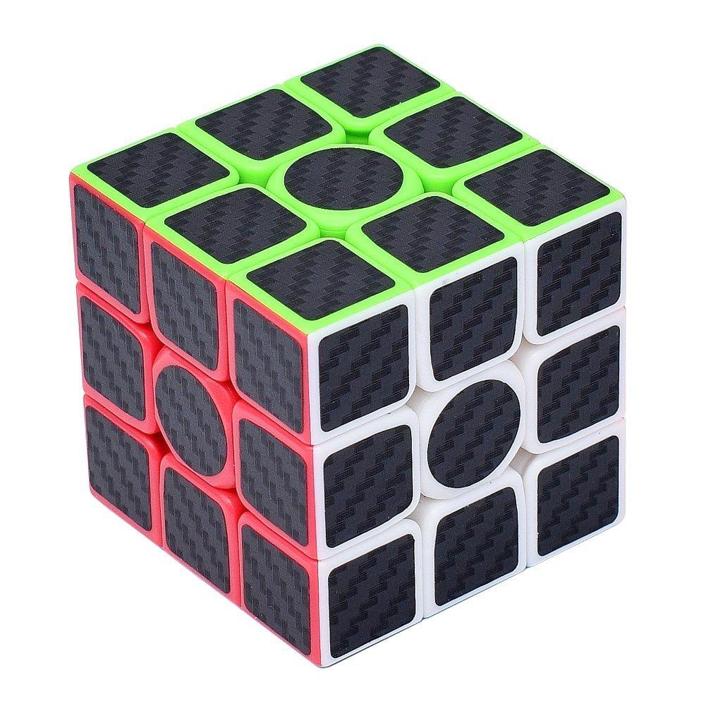 Ruisen Rompecabezas Cubo de fibra de carbono Cubo magico xx Negro