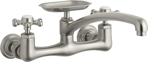 KOHLER K-159-3-BN Antique Wall-Mount Kitchen Sink Faucet, Vibrant Brushed Nickel
