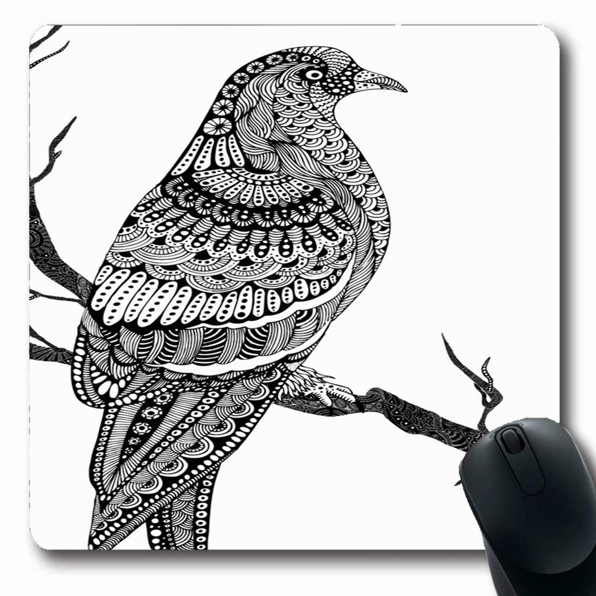 Luancrop Mousepad Oblong Tree Handdrawn Pigeon Bird Naturaleza ...