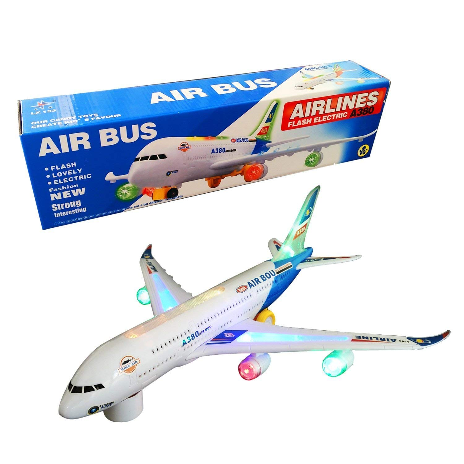 Battery Operated Operated Operated Electric Airbus Toy with Flashing Lights and Real Jet Engine Sound Bump and Go Action A380 Airplane  Changes Direction On Contact  Best Toys for Kids Age 3 and Up (colors May Vary) 2444a1