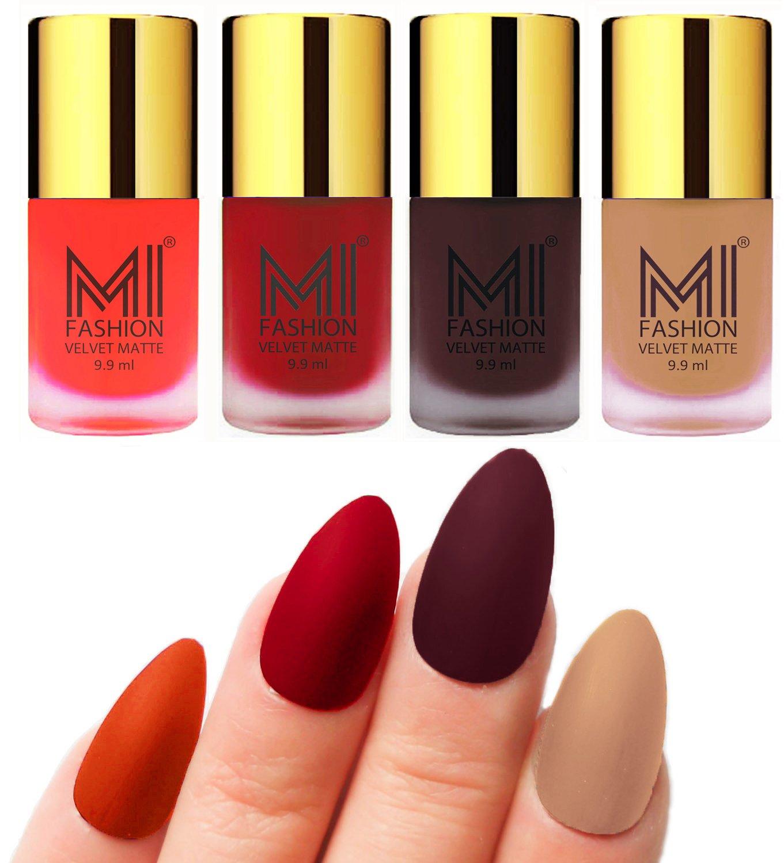 MI Fashion Matte Nail Polish Pack of 4(9.9 Ml Each)