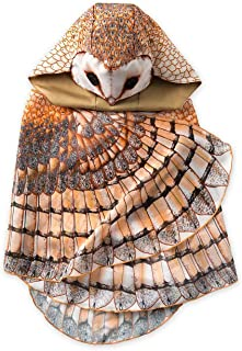 """product image for Kids' Dress Up Realistic Owl Wings with Eyes, Beak, and Hood, for Imaginative Play, Mighty 46"""" Wingspan -Barn Owl"""