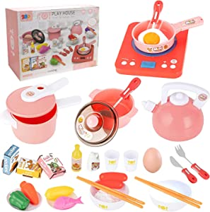 JURSTON Kitchen Toys, Toy Kitchen Sets for Girls, 36 Pcs Toy Kitchen Accessories Including Electronic Induction Cookware Pots, Pans Playset, Play Food for Toddlers