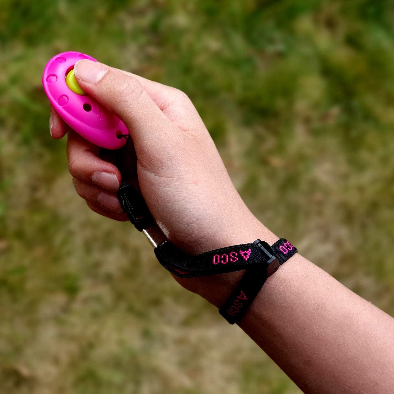 Ergonomic PET Dog Puppy Cat Horse Quality Training Clicker pink AC08FA ASCO Premium Finger Clicker with Elastic Wrist Strap