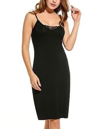 HOTOUCH WomenS Cotton Blend Spaghetti Straps Full Slips Mid-Thigh Bodycon Dress