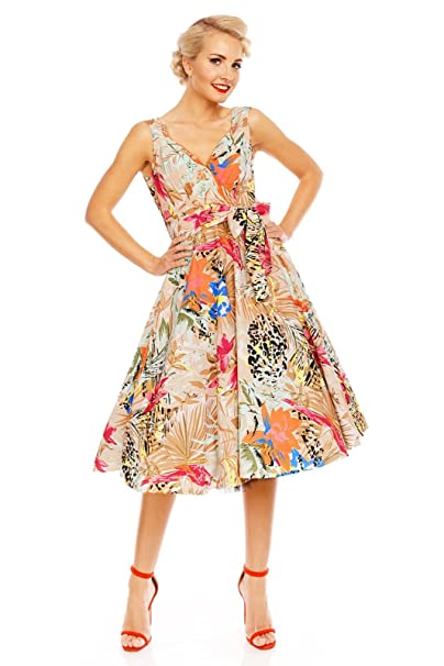 4d0f4dc70a66 Looking Glam Retro Vintage 1950s Tropical Bird Paradise Pin Up Swing Dress   Amazon.co.uk  Clothing