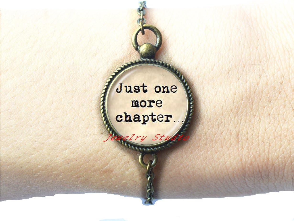 Charming fashion Bracelet,Book Lover Quote Just One Chapter Bracelet Word Jewelry Bracelet Reader Bookworm Gift Glass Cabochon Bracelets-HZ00148