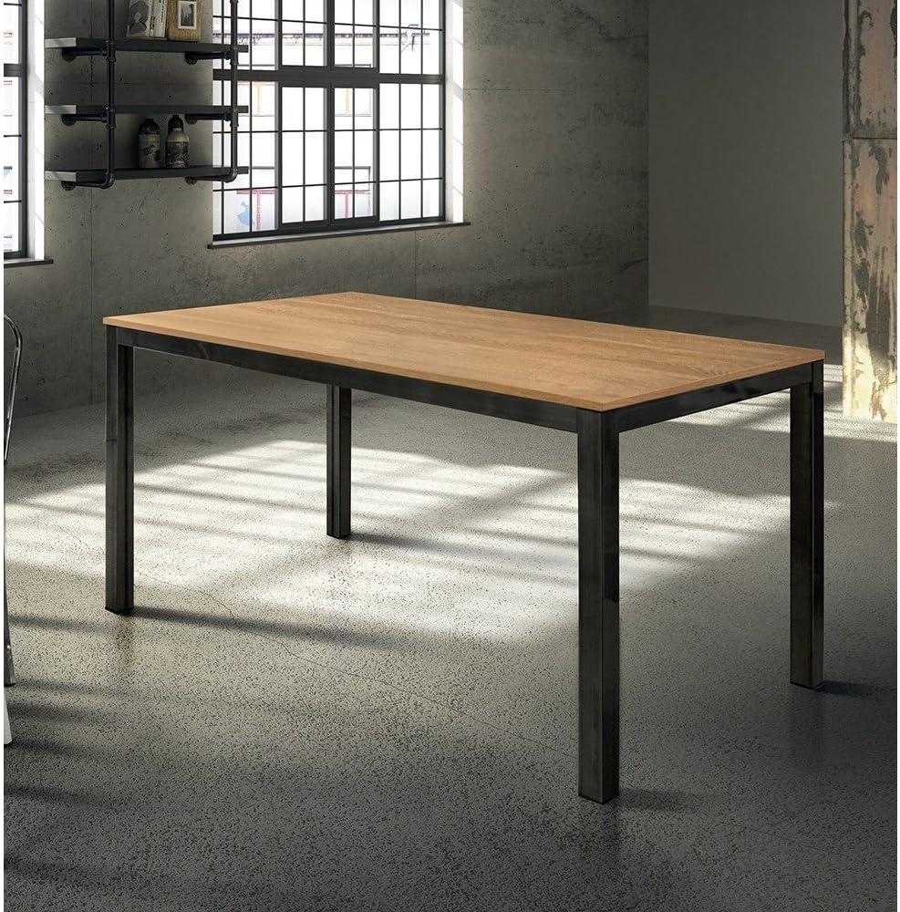 Milani Home srls Tavolo da Pranzo Moderno di Design ALLUNGABILE CM 80 X 140200 Rovere Struttura Nera Piano Naturale per Sala da Pranzo