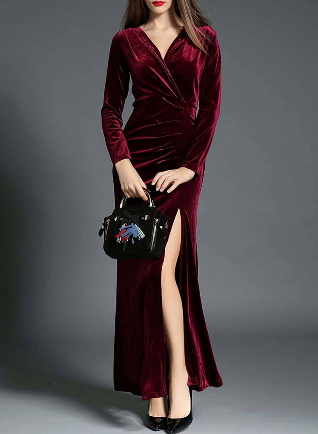 ASVOGUE Womens Elegant High Slit Velvet Prom Dress, Burgundy S: Amazon.co.uk: Clothing