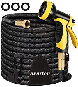 Garden Hose 100 ft, Expandable Water Hose, Durable 3750D Fabric 9-Layers Latex Core Solid Brass Fittings 10 Functions Spray Nozzle Lightweight Lightweight Expandable Hose for Lawn Yard Pets Car