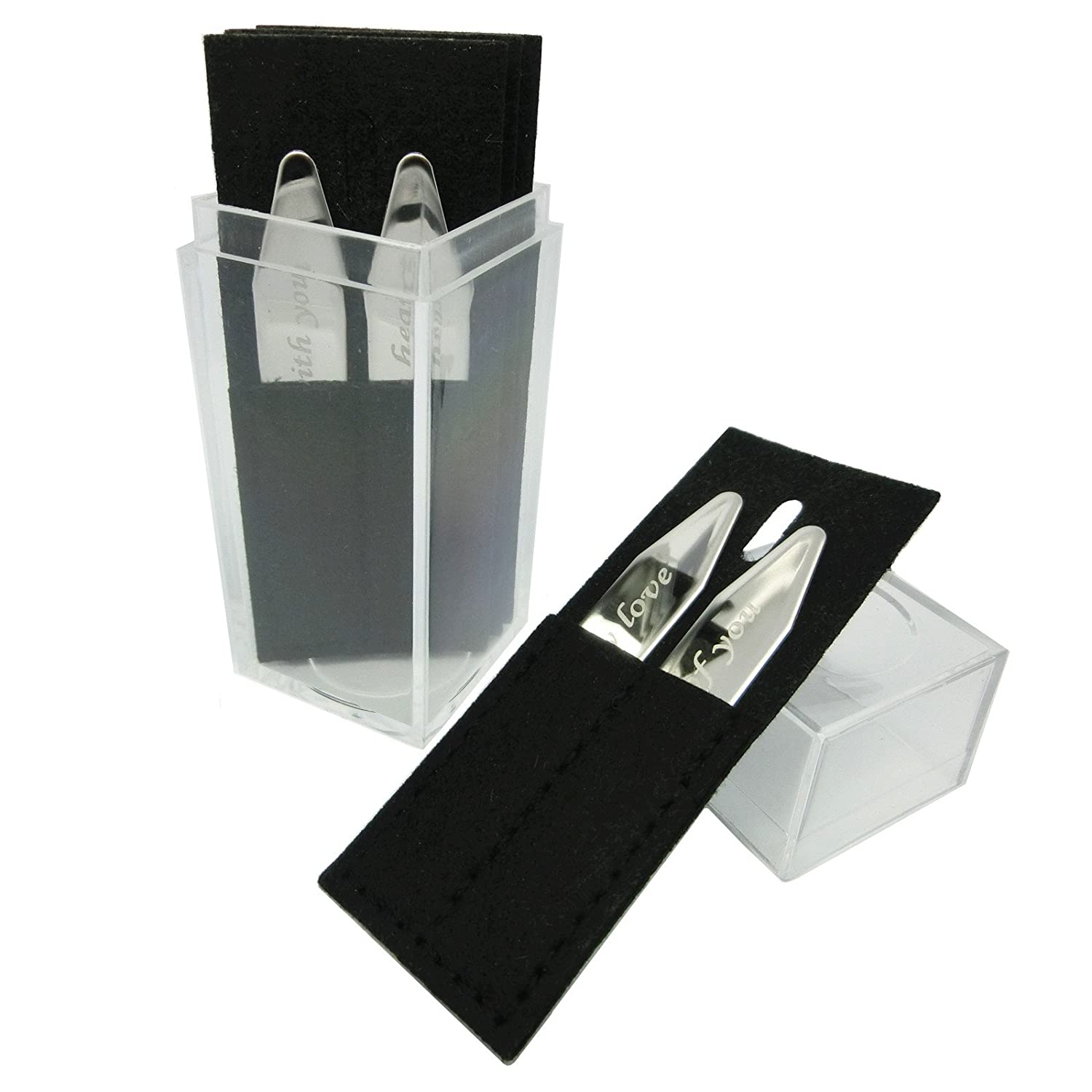 Shang Zun 8 Pcs Love Notes Stainless Steel Collar Stays in Box Silvery