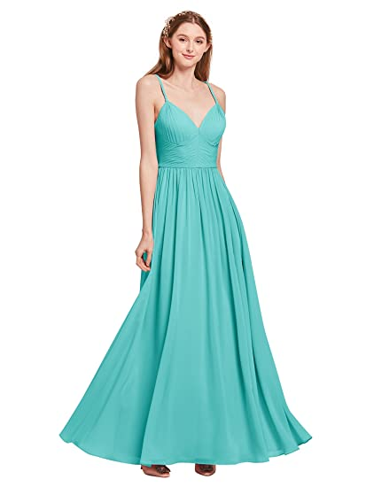 Alicepub V-Neck Spaghetti Straps Bridesmaid Dresses for Womens Sexy Chiffon Maxi Dress Formal Prom