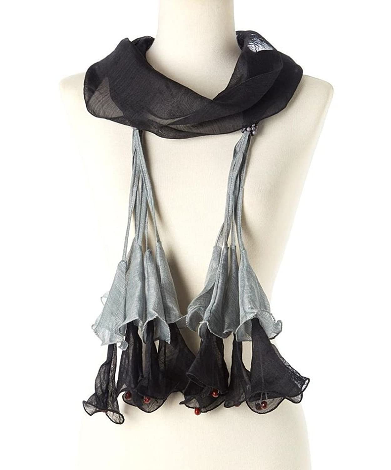 SALE! Black with Light Gray Hanging Tulips Silk Wool Handmade Scarf (HES-477)
