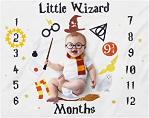 "Eunikroko Little Wizard Baby Monthly Milestone Blanket Magic Witches Photo Prop Blanket Ideas for Newborn Boy and Girl Nursery Décor 40"" X 50"""