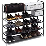 Relaxdays Schuhregal mit Griffen H x B x T: ca. 90,5 x 87 x 29,5 cm Schuhablage aus Vlies-Gewebe mit 5 Ablagen für 25 Paar Schuhe als Schuhständer und Schuhschrank beliebig erweiterbar Regal, schwarz