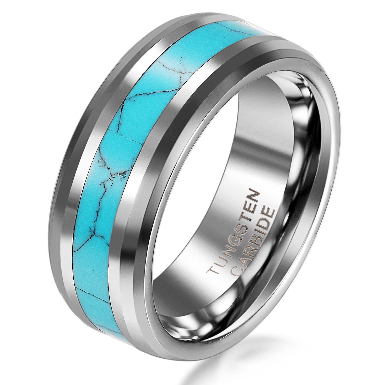 JewelryWe Bijoux Bague Homme Turquoise Artificiel Fiançailles Alliance Acier Tungstène Anneaux Fantaisie Couleur Argent Bleu Avec Sac Cadeau(Taille optionnelle)
