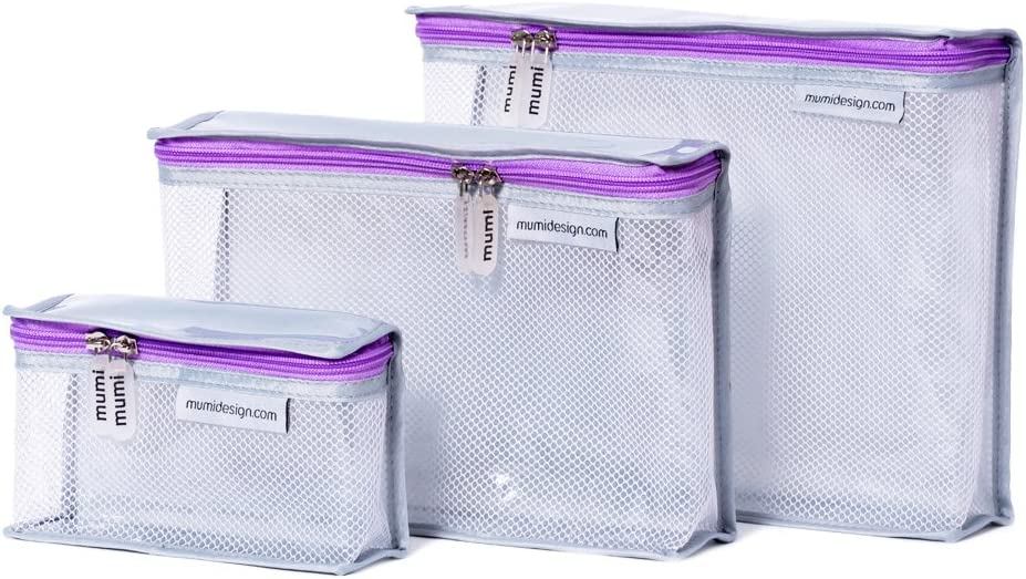 mumi Toiletry Bags | Water-resistant | Perfect for Travel | Smart and Stylish | Durable Nylon Material | Set of 3 Travel Toiletries Organizer Bags (Purple)