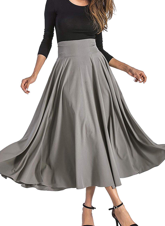 VivilY Women's Casual Dress, Flowy Dress High Waist Pleated Midi Skirt with Pockets