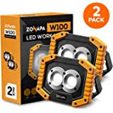ZONAPA Portable LED Work Lights, 2 Pack, Super Bright and Rechargeable Floor Lighting with Stand and Built-In Power Bank…