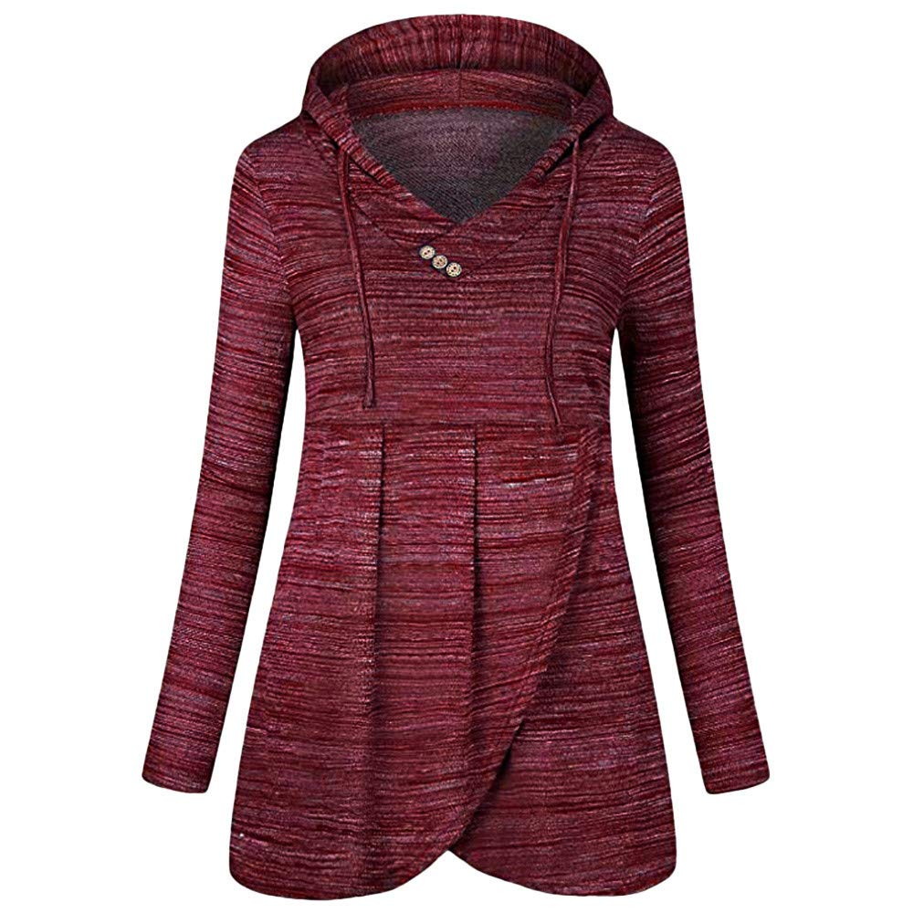 kemilove Womens Long Sleeve Button Cowl Neck Casual Slim Tunic Tops kemilove-women clothing