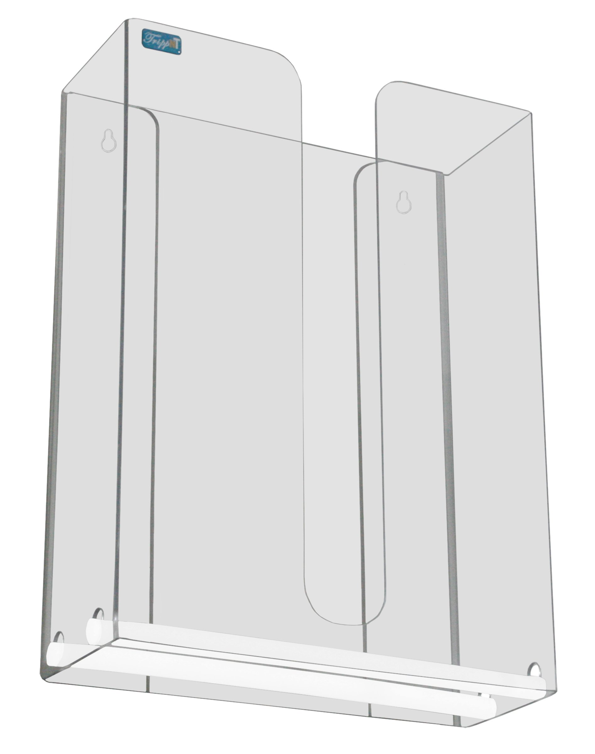 TrippNT 51935 Clear PETG Glider Two Stack Dual Dispensing Paper Towel Holder 10 7/8'' Width x 14 1/2'' Height x 4 3/8'' Depth