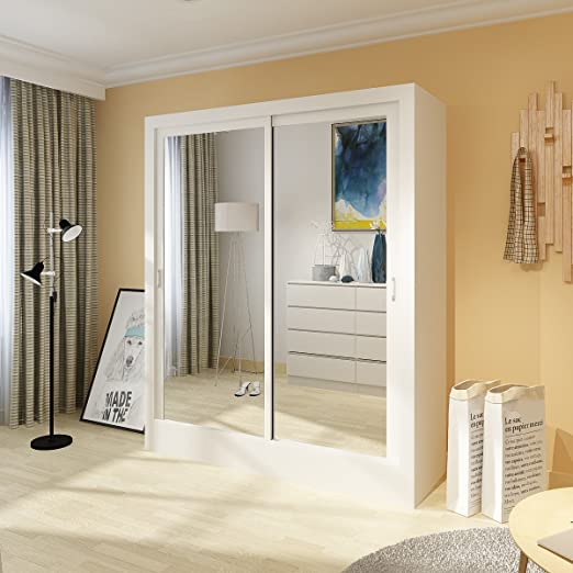 Furiture-uk-shop - Armario de puerta corredera para dormitorio (181 cm), color blanco mate: Amazon.es: Hogar