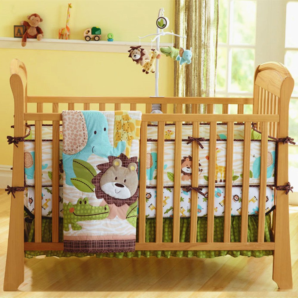 Ustide 7-Piece Baby Cot Bedding Set Lion Design Crib Bedding Sets Crib Bedding with Bumper, Fitted Sheet and Bed Skirt