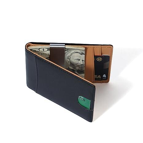 10e4a6f6ce8ed1 Herren Geldbörse mit Geldklammer, Echtes Leder Geldbeutel mit RFID Schutz,  Ultra dünnes Portemonnaie,