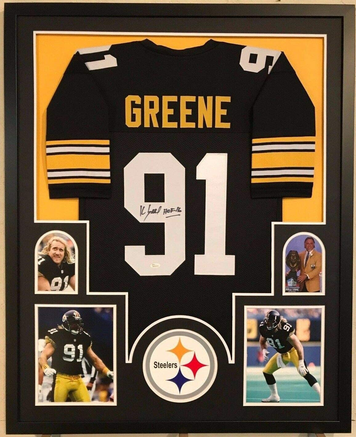 FRAMED PITTSBURGH STEELERS KEVIN GREENE AUTOGRAPHED SIGNED INSCR ...