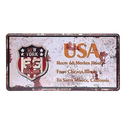 Amazon.com: Chitop USA Vintage Metal Tin Signs Route 66 Car ...