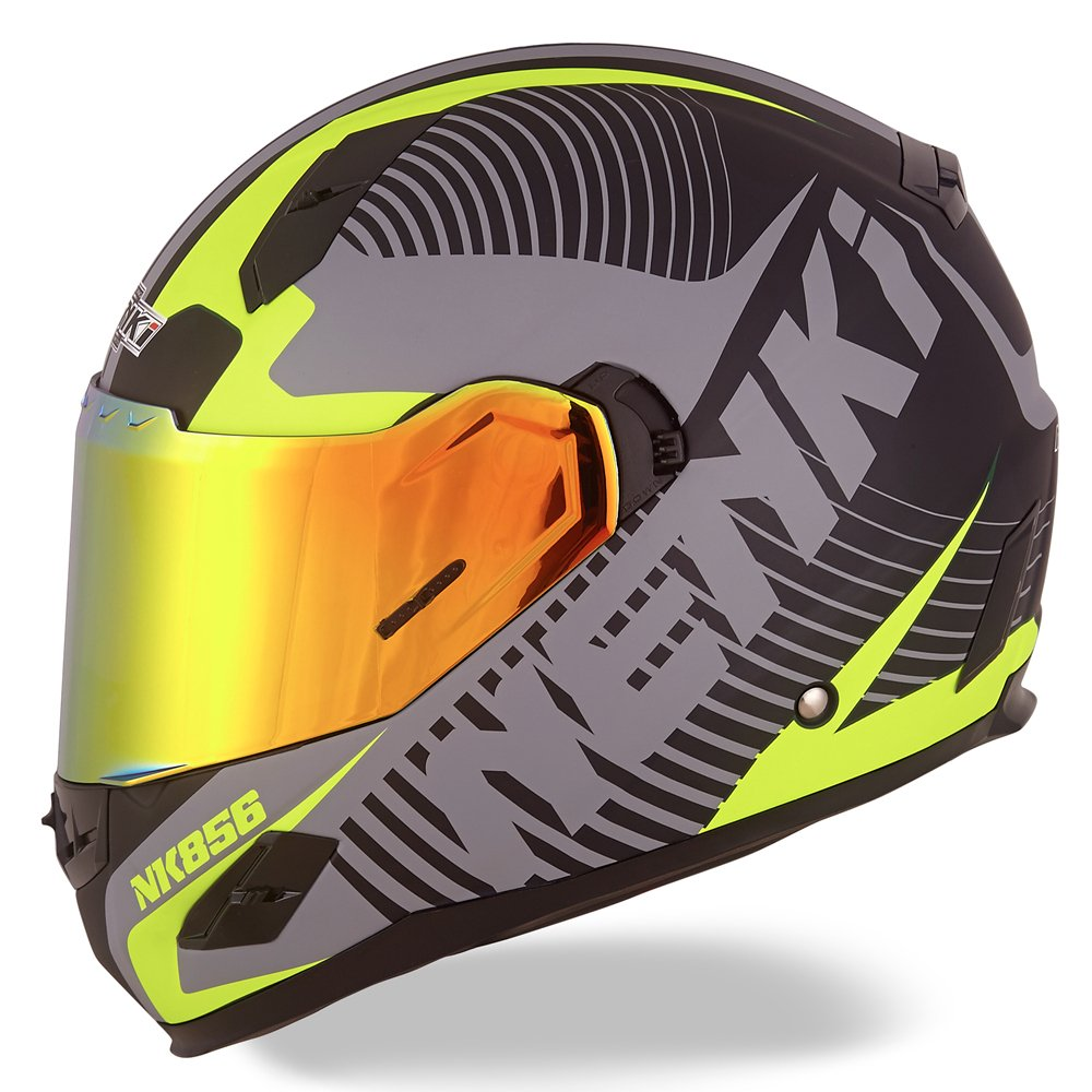 NENKI Helmets NK-856 Full Face Motorcycle Helmets DOT Approved with Iridium Red Visor and Inner Sun Shield Attached Outer Clear Visor (M, Matt Black & Yellow)