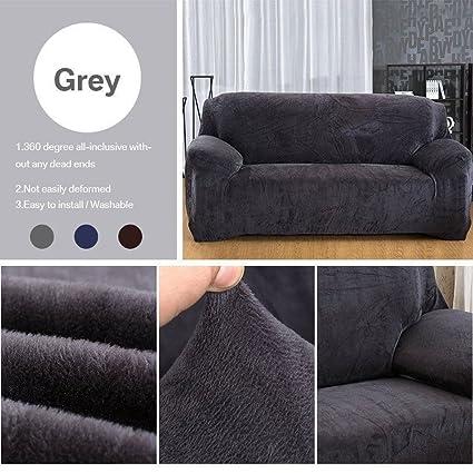 Amazon.com: Taiyucover Warm Plush Anti-wrinkle 3-Seater Sofa Covers ...