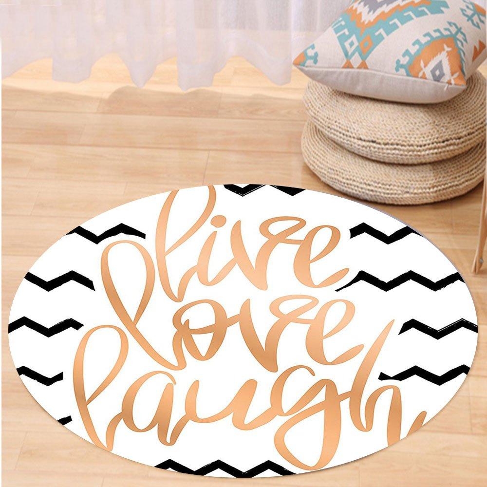 VROSELV Custom carpetLive Laugh Love Decor Motivational Calligraphic Art with Zigzags Chevron Stripes for Bedroom Living Room Dorm Black White Peach Round 72 inches