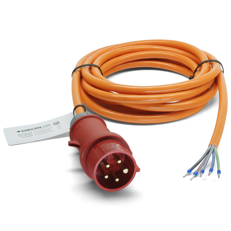ENECEN 1523405 CEE-Anschlusskabel 400V//16A IP44 PUR H07BQ-F 5x2,5 mm/² mit Stecker//freies Ende 5-polig Phasenwender 5m