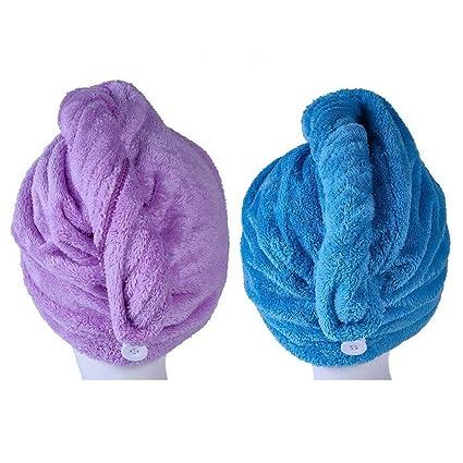 Microfibra pelo secado toallas, maxscout absorbente secado rápido Twist turbante Wrap Cap para baño ducha